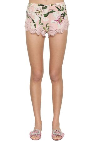 Dolce & Gabbana Stretch Lace Charmeuse Shorts