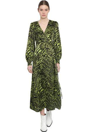 Ganni Wrapped Silk Satin Midi Dress