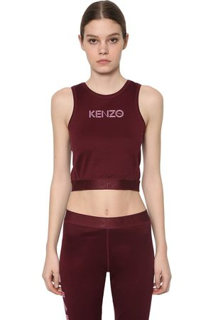 Kenzo Logo Print Stretch Cotton Cropped Top