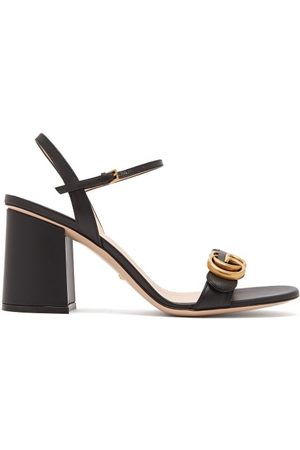 Gucci Women Heeled Sandals - GG Marmont Block-heel Leather Sandals - Womens