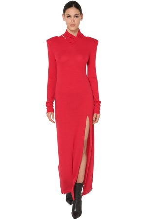 UNRAVEL Twisted Long Wool Blend Dress