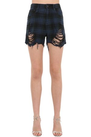 R13 Shredded Slouch Cotton Denim Shorts