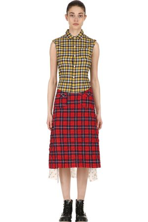 R13 Women Casual Dresses - Patchwork Cotton Shirt Midi Dress