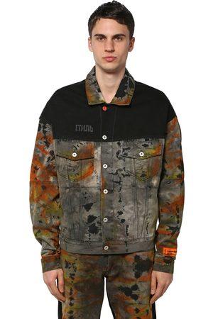 Heron Preston Ctnmb Over Tie Dye Cotton Denim Jacket