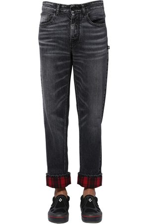 MARCELO BURLON Cotton Denim Carrot Jeans W/ Check