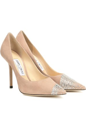 Jimmy choo Women Heels - Love 100 embellished suede pumps
