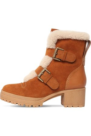 See by Chloé 40mm Brandie Suede & Fur Ankle Boots