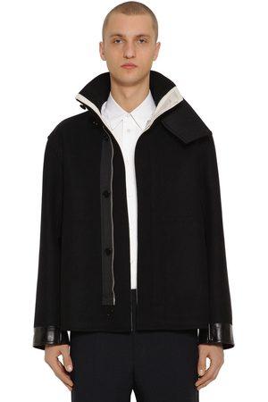 Jil Sander Straight Wool Jacket W/ Leather Details
