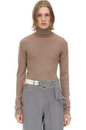 Rochas Men Turtlenecks - Striped Virgin Wool Turtleneck