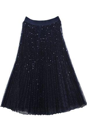 MONNALISA Girls Skirts - Long Sequined Tulle Skirt W/ Pleats