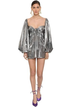 ATTICO Women Casual Dresses - Metallic Jersey Mini Dress W/ Bow
