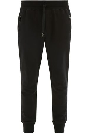 Dolce & Gabbana Logo Plaque Cuffed Ankle Cotton Track Pants - Mens