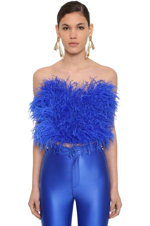 ATTICO Women Strapless Tops - Strapless Feather Embellished Top