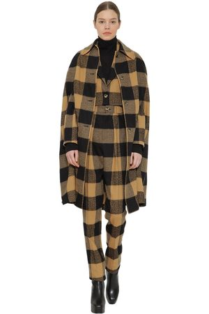 FAITH CONNEXION Long Plaid Wool And Cotton Blend Cape