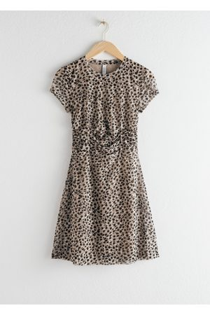 & OTHER STORIES Ruched Snake Print T-Shirt Dress