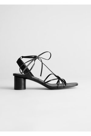 & OTHER STORIES Square Toe Leather Strappy Heeled Sandals