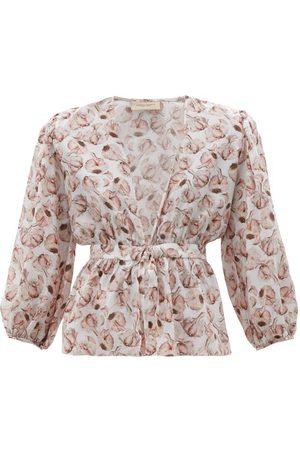 Adriana Degreas Aglio Print Tie Front Silk Charmeuse Blouse - Womens - Print