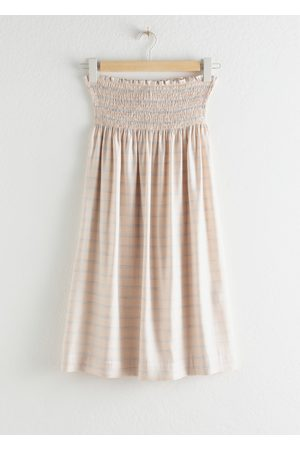 & OTHER STORIES Stripe Smocked Midi Skirt