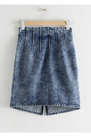 & OTHER STORIES Pleated Denim Mini Pencil Skirt