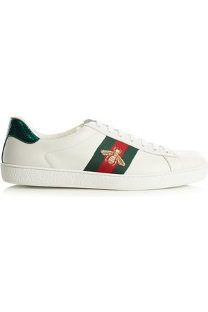 Gucci Ace Bee-embridered Leather Trainers - Mens - Multi