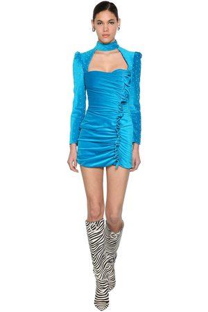 GIUSEPPE DI MORABITO Beaded Velvet Mini Dress W/ Ruffles