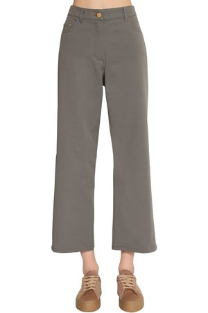 Max Mara Women Straight Leg Pants - Straight Leg Cotton Canvas Pants