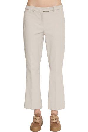 Max Mara Flared Stretch Cotton Twill Pants