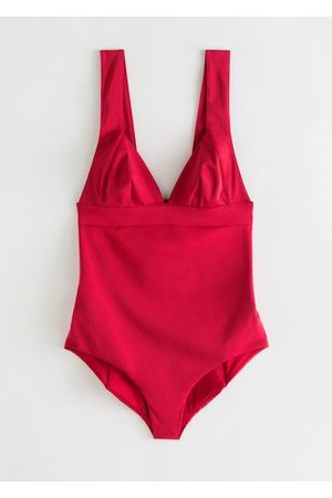 & OTHER STORIES V-Cut Ruched Swimsuit