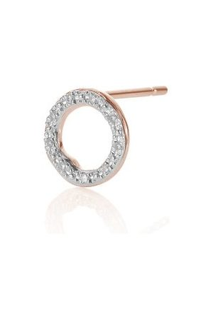 Monica Vinader Women Studs - Rose Gold Riva Diamond Circle Stud Single Earring Diamond
