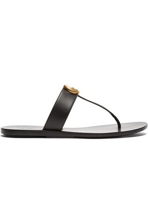 Gucci GG Marmont T-bar Leather Sandals - Womens