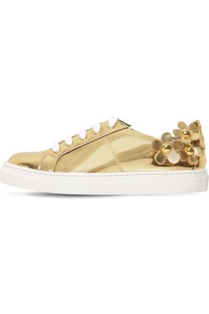 Marc Jacobs Faux Leather Sneakers W/ Daisy Patches