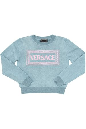 VERSACE Embroidered Lurex Blend Knit Sweater