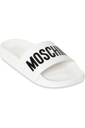 Moschino Logo Print Rubber Slide Sandals
