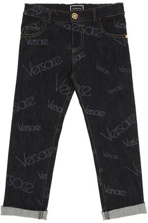 VERSACE Logo Stretch Cotton Jeans