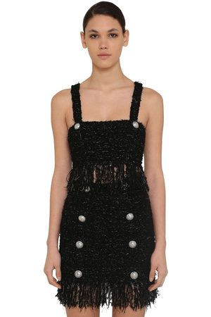 Balmain Fringed Lurex Tweed Crop Top