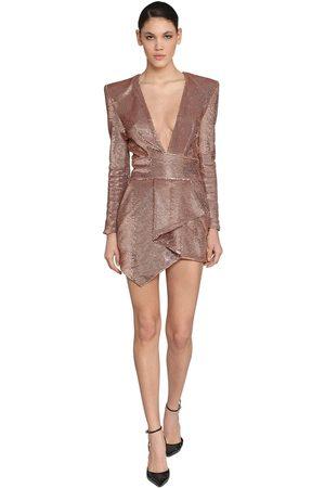 ALEXANDRE VAUTHIER Draped V Neck Micro Sequins Mini Dress