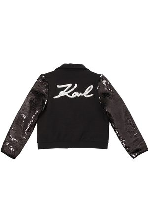 Karl Lagerfeld Embellished Cotton Blend Jacket