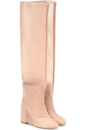 MM6 MAISON MARGIELA Leather and mesh knee-high boots