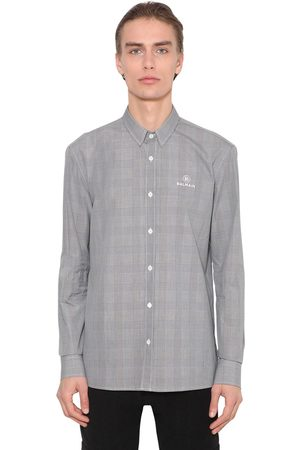 Balmain Embroidered Cotton Prince Of Wales Shirt
