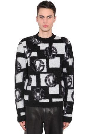 VERSACE Wool Blend Jacquard Knit Sweater