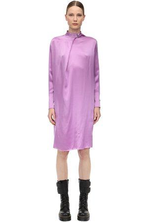 MARQUES'ALMEIDA Satin Midi Dress W/ Buckle Collar