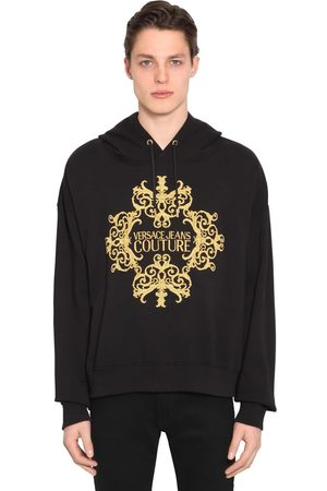 VERSACE Logo Embroidered Cotton Jersey Hoodie