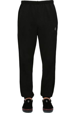 MARCELO BURLON Cotton Velvet & Jersey Sweatpants