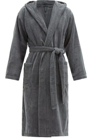 Schiesser Hooded Cotton-terry Robe - Mens - Grey