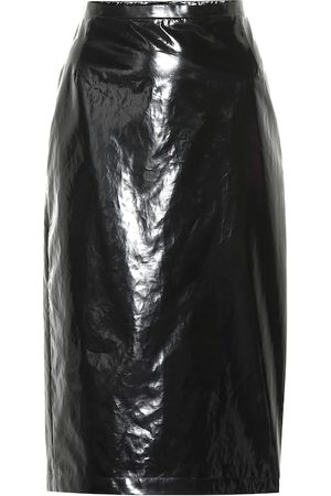 Nº21 Lacquered cotton pencil skirt