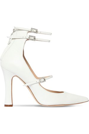 Alessandra Rich Women Heels - 105mm Mary Jane Leather Pumps