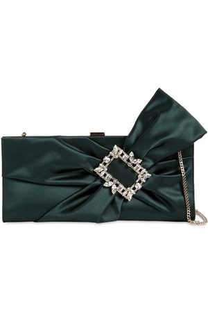 Roger Vivier Broche Satin Clutch W/ Embellished Bow