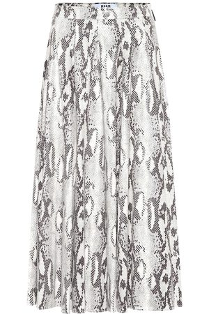 Msgm Faux snakeskin pleated midi skirt
