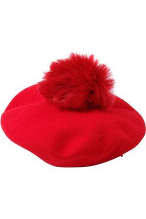 Emporio Armani Wool Hat W/ Faux Fur Pompom