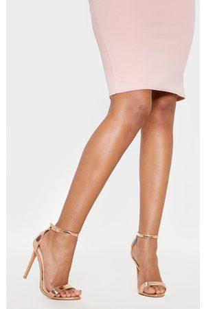 PRETTYLITTLETHING Women Heeled Sandals - Clover Metallic Rose Strap Heeled Sandal